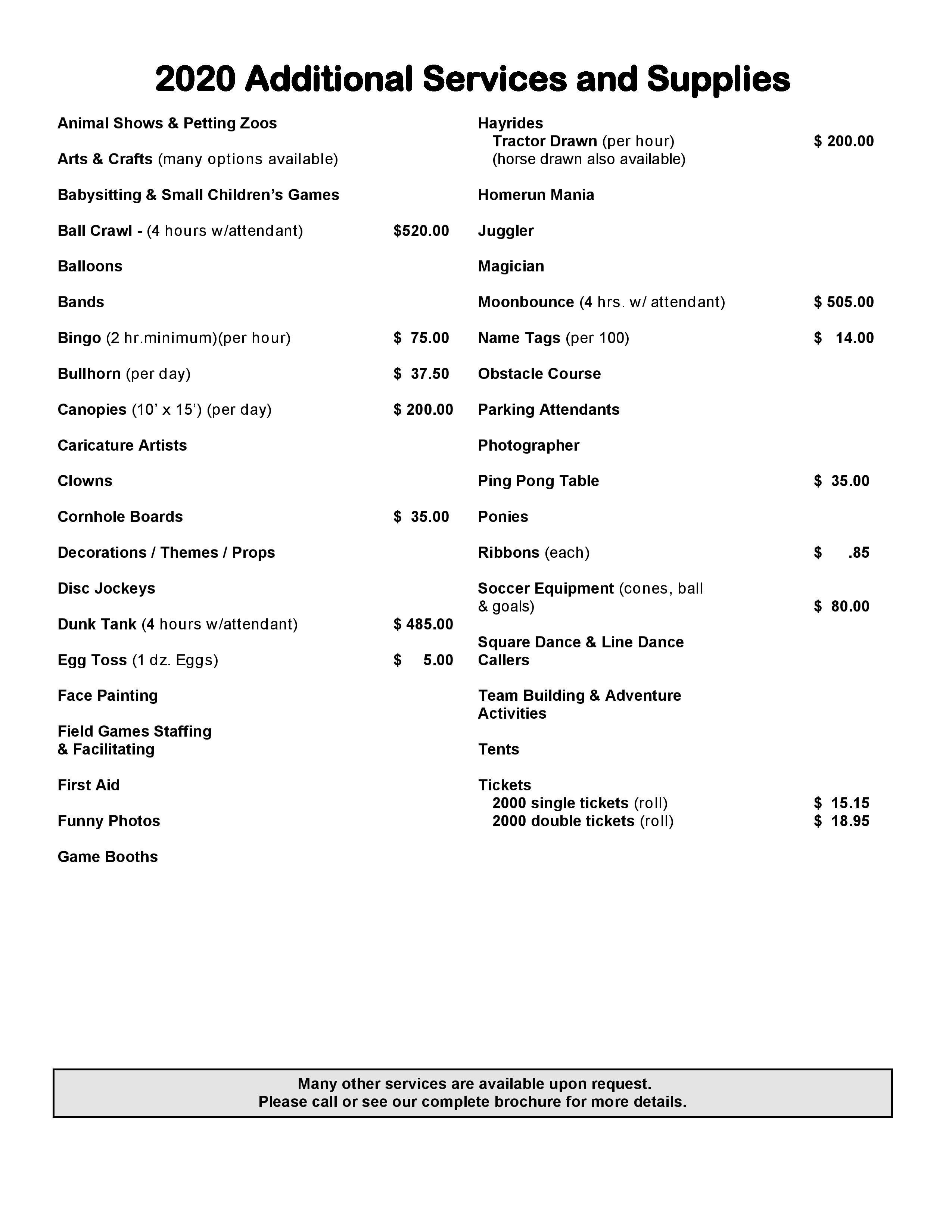 Additional Vendor Services